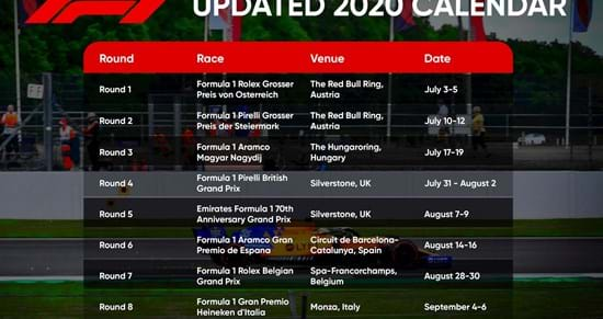 The Updated 2020 F1 Calendar